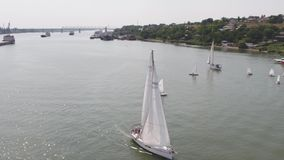 A sailboat harbor with a large number of sailing boats. Sailing harbor. Aerial stock footage