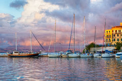 Sailboat harbor, many moored sail yachts in the sea port Stock Image