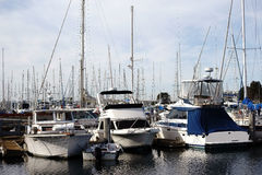 Sailboat harbor Marina del Ray. A sailboat harbor with a large number of sailing boats in the marina Marina del Ray in Los Angeles Stock Photos