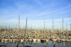 Sailboat harbor in the Mediterranean sea. Travel. Royalty Free Stock Photo