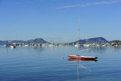 Sailboat  in the harbor of Port de Pollenca Stock Images