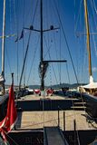 Sailboat in the harbor of Saint-Tropez royalty free stock image