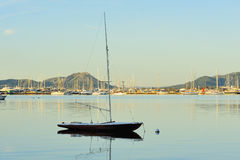 Sailboat into the harbor on sunrise Royalty Free Stock Image