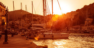 Sailboat harbor in sunset Stock Photo