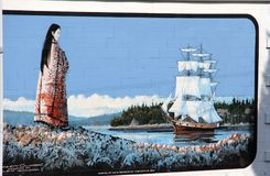 Sailboat in the harbour, Chemainus, BC Murals. The Chemainus mural project is the world`s leading community-driven art tourism experience. The beautiful little royalty free stock image