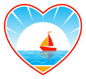 Sailboat in heart Royalty Free Stock Photos