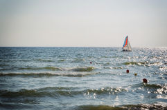 Sailboat on the horizon Royalty Free Stock Image