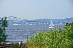 Sailboat on the hudson river Stock Images