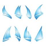 Sailboat icons. Set of sailboat icons, vector illustration Royalty Free Stock Photography