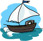 Sailboat illustration. Sailing boat on the ocean cartoon Stock Photos