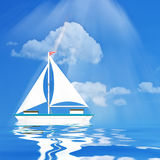 Sailboat Illustration - blue Sea Stock Images