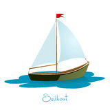 Sailboat  illustration. Sailboat on water. Boat  illustration Stock Images