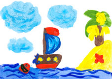Sailboat and island. Child's drawing. Stock Images