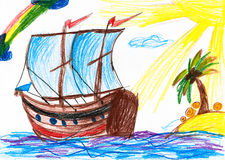 Sailboat and island. Childs drawing. Stock Photography