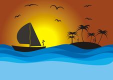 Sailboat, island and sunset Stock Image