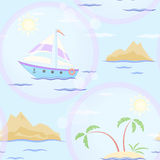 Sailboat and islands seamless texture Stock Photos