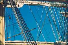Sailboat Krusenstern. Saiboat Krusenstern and some of its many ropes on its sail Stock Photo