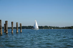 Sailboat on Lake Chiemsee Royalty Free Stock Photos