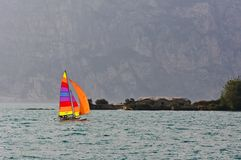 Sailboat on lake Garda Stock Photography