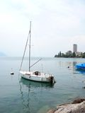 Sailboat on Lake Geneva royalty free stock photo
