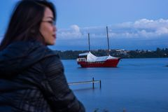 Sailboat on Lake Llanquihue, near Volcano Osorno, Puerto Varas Chile. Patagonia stock image