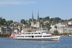 Sailboat on Lake Lucerne. In Switzerland Royalty Free Stock Photography