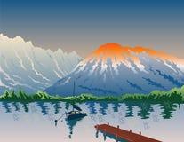 Sailboat on lake with mountain Royalty Free Stock Photos