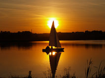 Sailboat on the lake Stock Photo