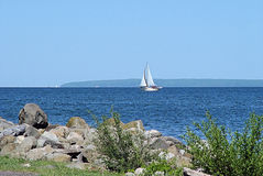 Sailboat on Lake Superior stock photos