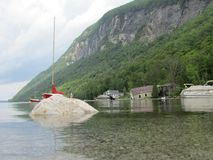 Sailboat in lake wiloughby Vermont. Icy water rocky adventures Stock Photo