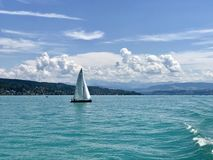Sailboat in the Lake Zurich stock photo