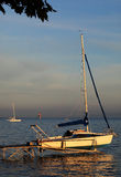 Sailboat on landing-stage Royalty Free Stock Image