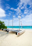 Sailboat laying on the beach Royalty Free Stock Photography