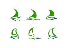 Sailboat logo. Set abstract sail boat vector logo design template Stock Photo