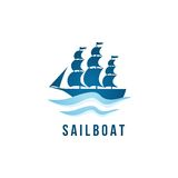 Sailboat logo template Royalty Free Stock Image