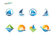 Sailboat logo. Sailboat yacht icon vector logo stock illustration