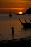 Sailboat Longtail Sunset Silhouettes Royalty Free Stock Image