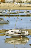 Sailboat in low tide at Pornichet Stock Image
