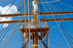 Sailboat with lowered the sail royalty free stock images