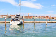 A sailboat lying at anchor in Venice's harbour Stock Image