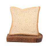 Sailboat made ??of white and brown bread. Stock Images