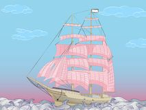 Sailboat with magenta canvas sails in a wavy sea Stock Images