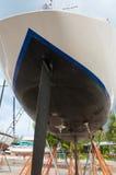 Sailboat in a maintenance progress at shipyard Stock Image