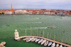 Sailboat marina at San Giorgio Maggiore Island in Venice, Italy Royalty Free Stock Image