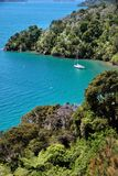 Sailboat in the Marlborough Sounds Royalty Free Stock Photo