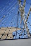 Sailboat mast on blue sky background Royalty Free Stock Image