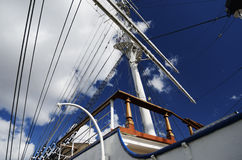 Sailboat mast on blue sky background Stock Photography