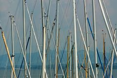 Sailboat masts. In Konstanz on Lake Constance royalty free stock photos