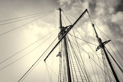 Sailboat masts. Low angle take of sailboat masts and rigging stock image