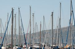 Sailboat masts in San Francisco Port stock image
